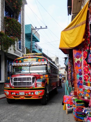So much colour, a bus making it's way through the streets
