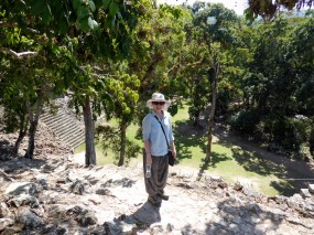 Enjoying the view from the top of a temple at Copan Ruins