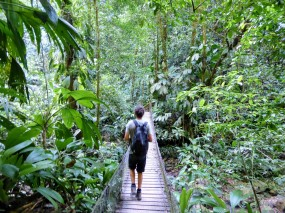 Emiel crossing one of many bridges in Cerro Azul Neambar