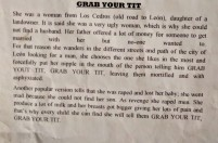 "Explanation for ""Grab Your Tit"" legend"