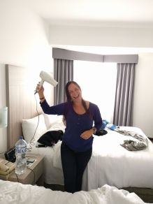 Michelle was pretty happy about having a hairdryer